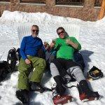Chilling at the Beach (base of Silver Lake Lodge) apres ski.