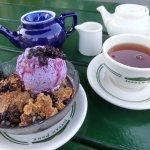 Blueberry Crisp And Tea Served At The Jordan Pond House, Seal Harbor, Maine
