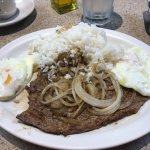 Steak and Eggs with White Rice Breakfast