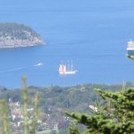 View Of Bar Harbor, And The Margaret Todd 4-Masted Schooner, From The Top Of Cadillac Mountain,
