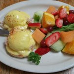 Fresh crab Benedict with fruit instead of hashbrowns