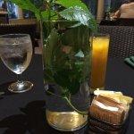 Mango purée with mint and a mint centerpiece