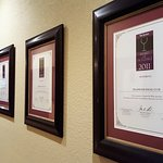 Award certificates were displayed that dated back over 10 years ... best wine lists in the world