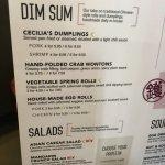 Dim Sum/Salad menu