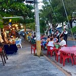 Outside dining, mariachi group