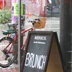 Brunch sign board on sidewalk