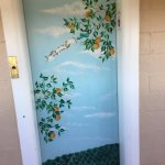 The decorated, small elevator