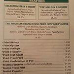 Menu at Va Steakhouse