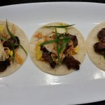 Kalbi Beef Tacos - Kalbi marinated bavette tacos with Korean vegetables topped with kim chee