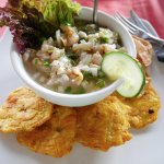Rock scallop ceviche with smashed plantains