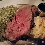 Prime Rib with scalloped potatoes and creamed spinach