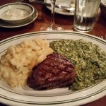 Filet Mignon with scalloped potatoes and creamed spinach