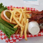 Bacon Swiss Burger and fries