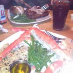 T-bone steak and 1 1/2 lb. King crab legs