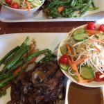 Steak Night ~ sirloin topped with beer braised mushrooms and onions, seasonal veg, Thai garden s