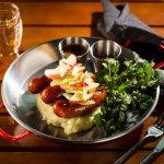 Beer Sausage - Smoked beer sausage mash potato Sauerkraut & apple salad, beef gravy