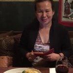Susanne enjoyng her Chicken Porcini.
