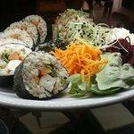 Norimaki garni: all vegetarian, tofu, whole rice, salads,  seaweeds, pickles all organic of cour