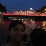 Anderson Bridge lit in red