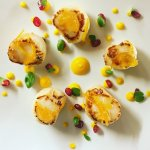 Scallops with orange marmalade and carrot purée