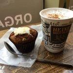 Cappuccino and pumpkin cream cheese muffin.