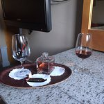 Nice welcome bottle of port and chocolate in the room