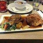 roast beef dinner with cauliflower cheese side