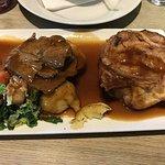 roast beef dinner close up