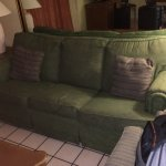 A little bit of upkeep goes a long way- broken down uncomfortable couch, hanging vents ( that ma