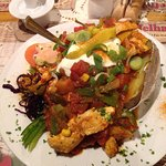 Hazienda (large baked potato w/ chicken, peppers & salsa)