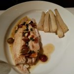 Plated: Dover Sole w/Browned Butter, Capers, Grapes & Salsify