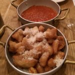 Crescentine (deep fried bread) and tomato dip