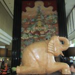 An elephant statue in the lobby
