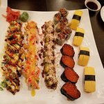Anchor tatoo roll, angel roll, vegi roll, sweet potato roll, ikura & tamago.