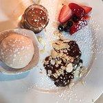"Sampling of desserts"" Chocolate Mouse,Citrus Sherbet,Choc Almond Cake,fresh fruit"