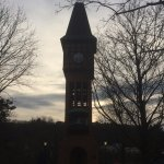 The Clock tower at one end of the Village in warmer weather has a Glockenspiel