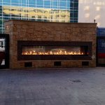 Outdoor fireplace outside the hotel restaurant