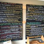 The menu boards at the Olive Cafe, Norfolk Island