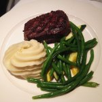 Canadian prime rib petit filet mignon, mashed potatoes and green beans