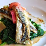 Main: cornish mackerel, crushed potatoes, wilted spinach, poached rhubarb