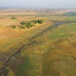 Aerial View of Mukambi Plains Camp, Busanga