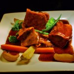 Toffee apple belly pork.