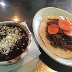 Stewed Black Beans(left) and Brisket Taco(right)