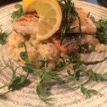 Sea Bass with Lemon and Pea Risotto