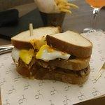 Club sandwich with random fried egg