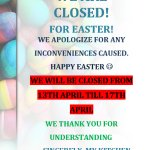 We are closed for easter holidays! Happy Easter everyone!