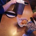 Our small bucket of peanuts and rolls with honey butter