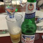 Nice peroni with a great dinner.