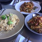 Chicken Noodles, Caramelized Gulf Shrimp, Cellophane Noodles - left to right