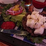 surf & turf burger--beef with chunks of crab